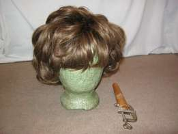 100% human hair medium brown wig with stand