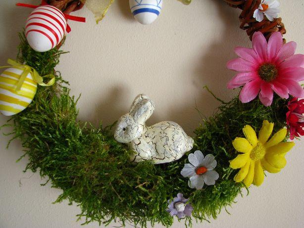 Wianek Wielkanocny Wiosenny Stroik Na Drzwi Okno Ręcznie Robiony