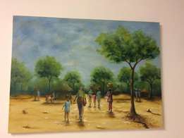 Painting - LArge - African Village and Forest Scene