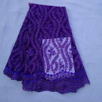 Purple Embroidered and Sequinned Sample Lace - 5 Yards