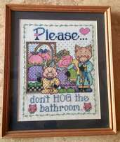 Don't Hog the Bathroom! Hand-stitched and framed picture sign
