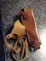 Leather under - arm holster for 6 inch revolver