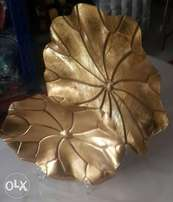 2 pieces Gold standing flower table or console accent.