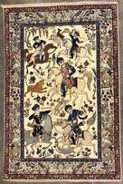 Antiques Isfahan Carpet - 100 years old part silk fine Persian rug