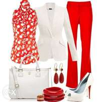 Red and white female dress