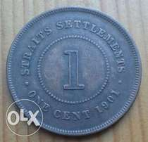 Great 1901 Straits Settlements Victorian 1c