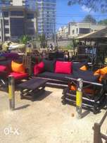 Log sofas 5seater with coushons. Self made