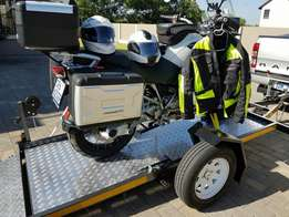 BMW GS1200 with trailer and riding equipment