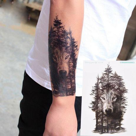 Tatuaż Tymczasowyzmywalnypróbnyhenna Wilk W Lesie 21