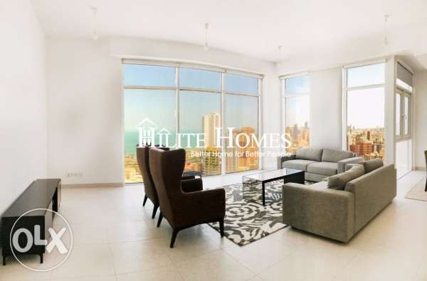 Sea view three bedroom apartment for rent in kuwait