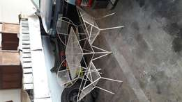 Steel garden furniture, strong, 4 chairs and table