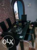 QK6 Durable Six Sitter Glass Dining Table & Chairs(New)