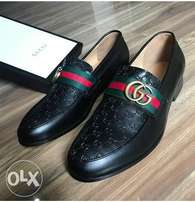 black leather original gucci shoe
