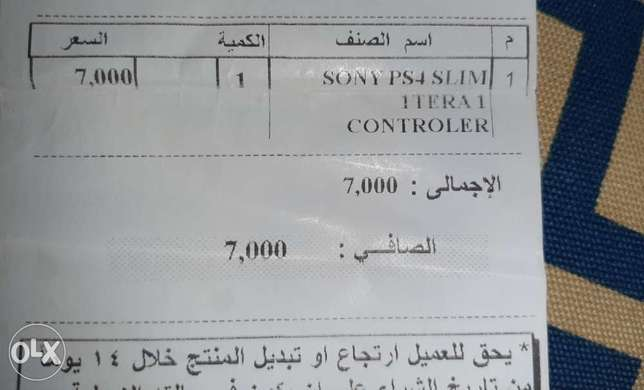 Sony ps4 slim 1 Tera - 1 controler بلاي ستيشن فور سوني - 1تيرا - 1درا
