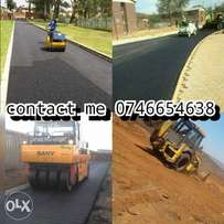 Tar surfacing driveways and parking areas