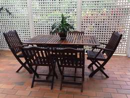 Expandable patio dining table and six (6) chairs