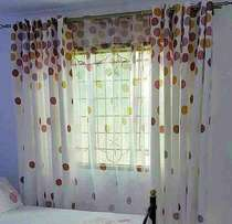 The polka dots heavy curtain goes for 1000per meter and the sheer 700.