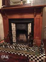 Antique fireplace with iron surrounds