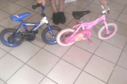 Toddlers boy and girl bicycles