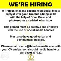 Social Media Analyst with Graphic Skills Needed Urgently