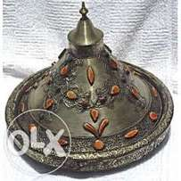 Handmade Moroccan Imported Detailed design metal and bone Tagine