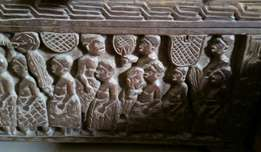 Statue and carved wooden box