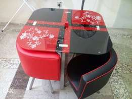 Red and black dining table by four