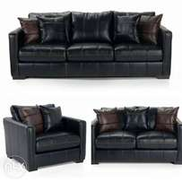 Elegant black leather sofa