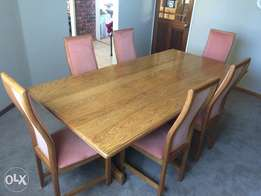 Solid oak table & six chairs