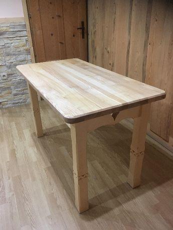 Masywnie Stół drewniany rzeźbiony góralski jesion 125x65 Zakopane • OLX.pl EQ12