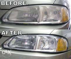 cleaning car headlights