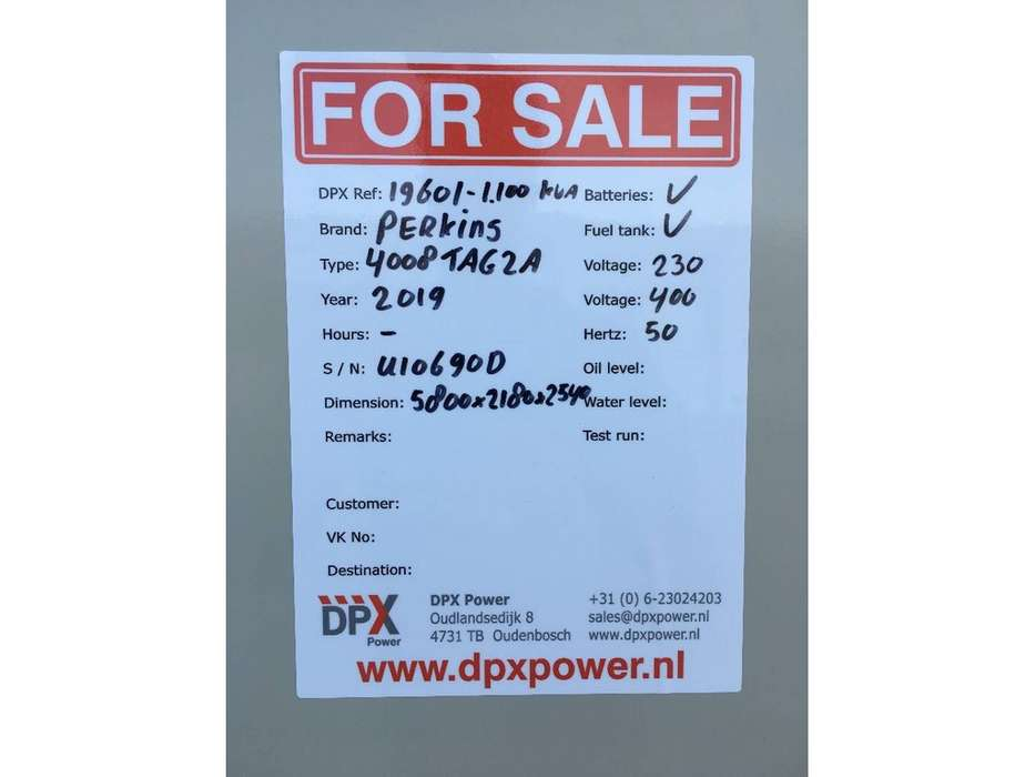 Perkins 4008TAG2 - 1.100 kVA Generator - DPX-19601 - 2019 - image 16