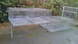 Four Large Galvanized Avairies + Steel Stand