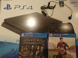PlayStation 4 Slim console, with Fifa 15 and Injustice: God's among us
