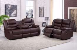 3&2 Bonded LEather Recliner Sofa Set With Pull Down Drink Holder
