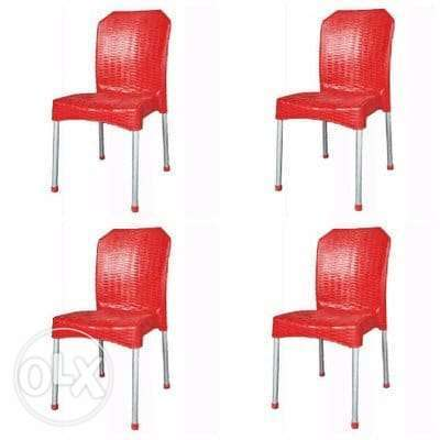 Square Table with 4 Aluminium Curved Legs Chairs Lagos - image 2