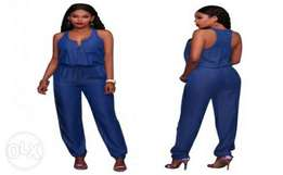 Zipped Up Back Blue Jumpsuit | Large
