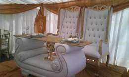 King and Queen Chairs and table with glass top SALE!
