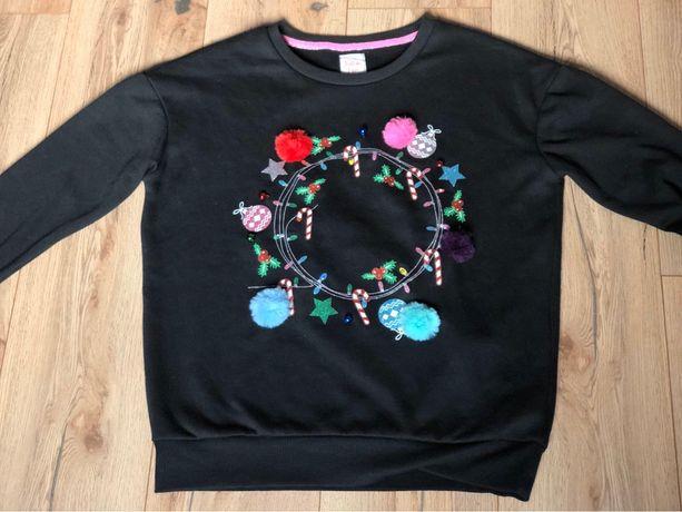 Bluza sweter świecący kolorowe lampki led dzwonki pompony