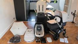 Off White Bugaboo Cameleon with Maxi Cosi pebble car seat and many ext