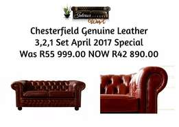 Chesterfield Genuine Leather Set For Sale