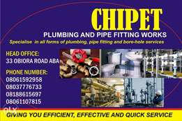 CHIPET plumbing, borehole and pipe fitting works