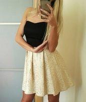 fae3399836 Złoto czarna sukienka gorsetowa wesele rozkloszowana XS S M