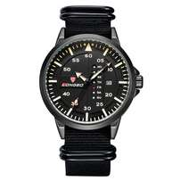 Men's Fashion Classic Military Quartz Watch with Black Canvas Strap