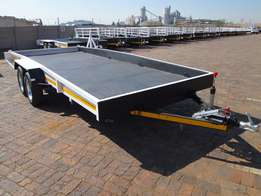 Brand new 5m x 2m Car Trailers in stock. Break neck with ramps.
