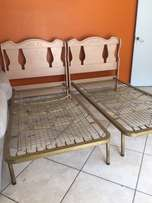 2 Single Bed Bases with Headboards