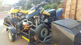 2x Ds650 Bombardier Quads with trailer combo.