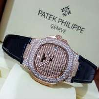 patek Philippe Nautilus black leather wrist watch