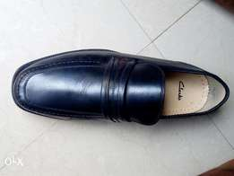 Black leather penny loafers men shoe