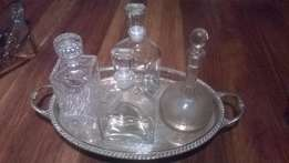 4 Decanters on silver-plated tray/stand